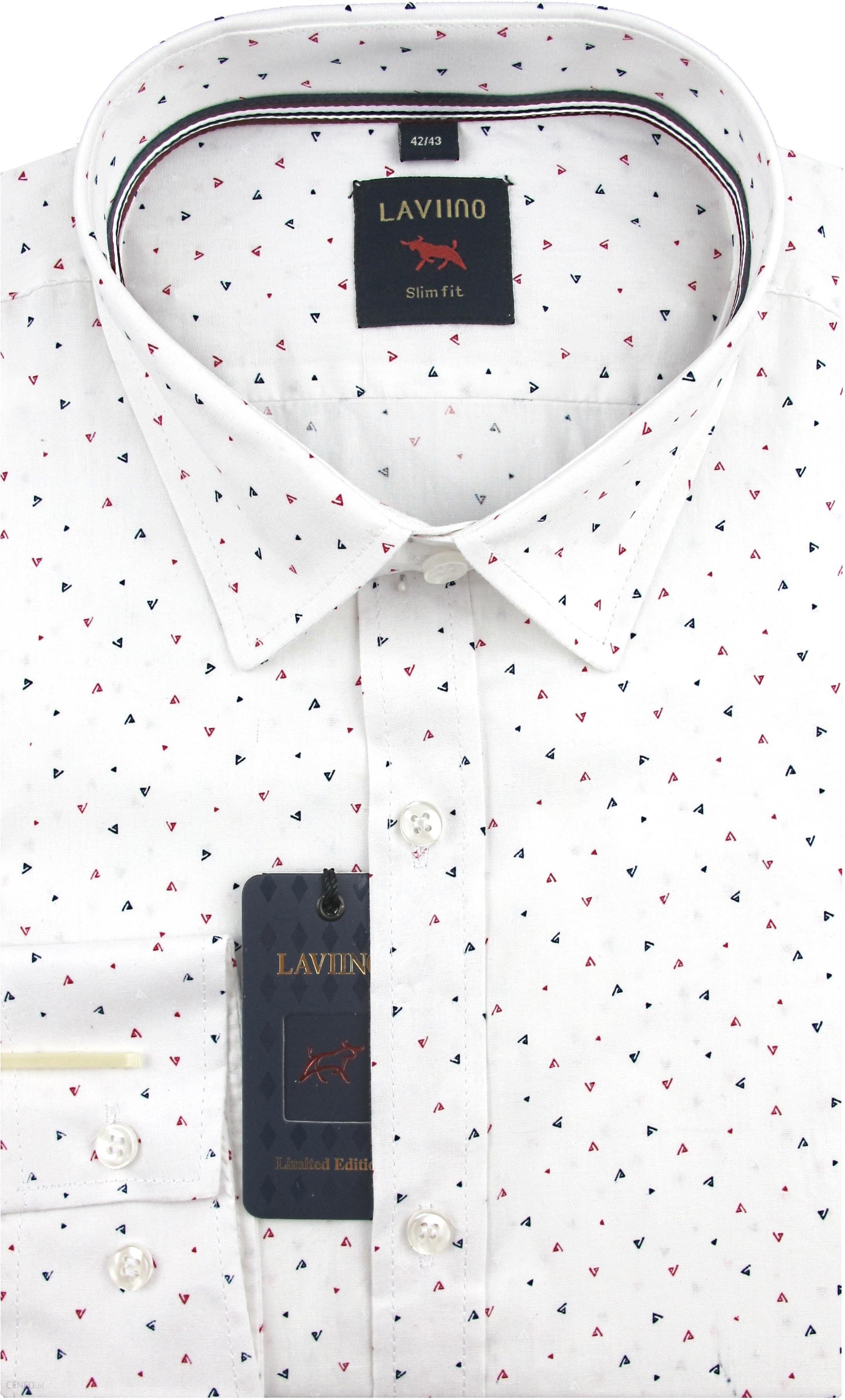 Koszula Męska Laviino biała we wzory SLIM FIT na długi rękaw