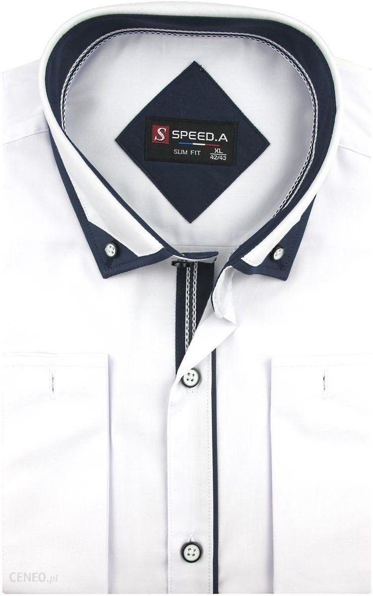 e3e934463c6a70 Koszula Męska Speed. A gładka biała SLIM FIT z mankietami na spinki D912 -  44