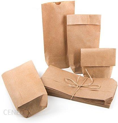 Amazon Małe, brązowe torebki papierowe z papieru typu kraft, 10,7 x 22 x 4,2 cm, minitorebki z dnem krzyżowym, torebka naturalna, woreczek na podłogę