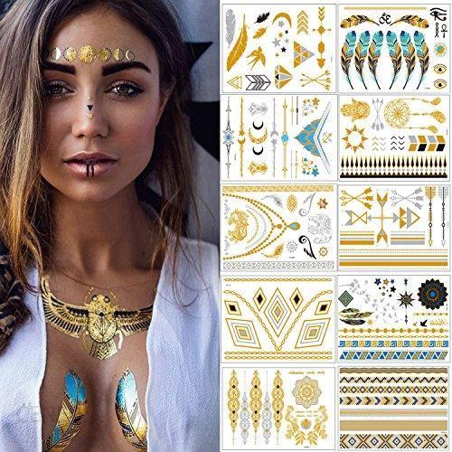 Amazon Meersee Tatuaż Tymczasowy Zestaw 10 Sztuk Samoprzylepny Henna Mandala Złoty Wodoodporny Złoto Ceneopl