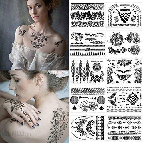 Amazon Meersee Tatuaż Tymczasowy Zestaw 10 Sztuk Samoprzylepny Henna Mandala Złoty Wodoodporny Czarny Ceneopl