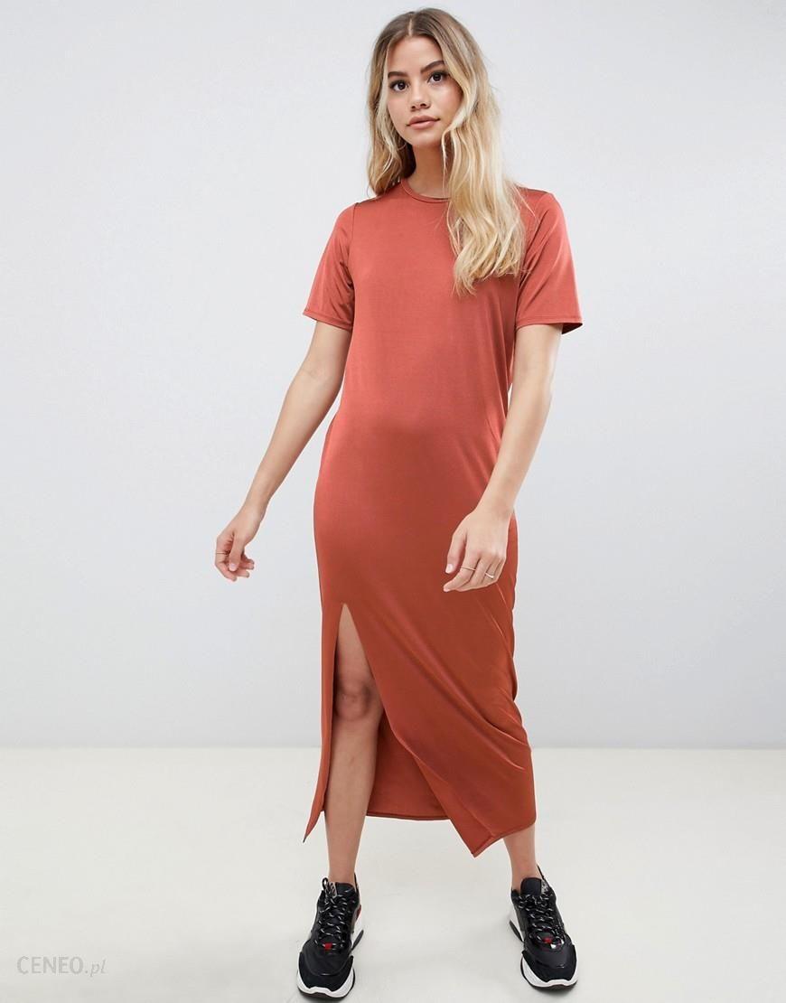 2019 original new high quality best shoes ASOS DESIGN ultimate slinky t-shirt maxi dress - Orange - Ceneo.pl