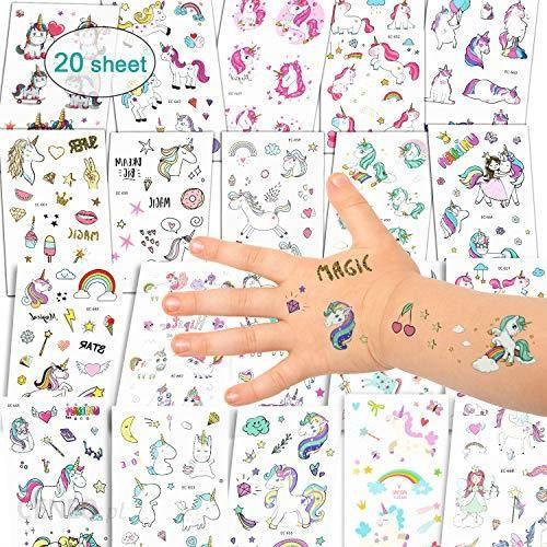 Amazon Ekkong Zestaw Tatuaży Z Jednorożcem Jednorożec I Tęcza Tatuaże Tymczasowe Naklejki Dla Dziewcząt Dzieci Kobiet Dorosłych Zupę Na Impr