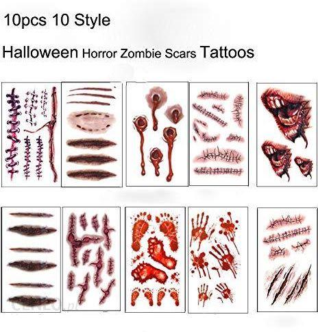 Amazon Halloween Tatuaże Tymczasowe Zombie Scars Tattoos 10 Kartek Naklejka Ze Sfałszowaną Krew Scab Specjalny Kostium Makeup Podpórki Ceneopl