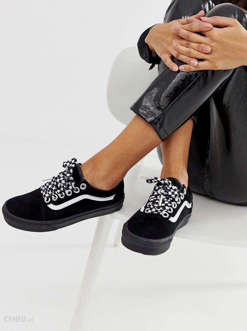 Vans Old Skool Premium black with checkerboard laces trainers Black Ceneo.pl