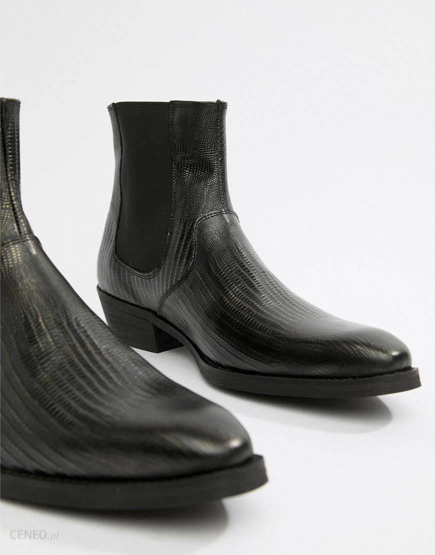 97c568d285 ASOS DESIGN cuban heel western boots in black leather with snake texture -  Black - zdjęcie