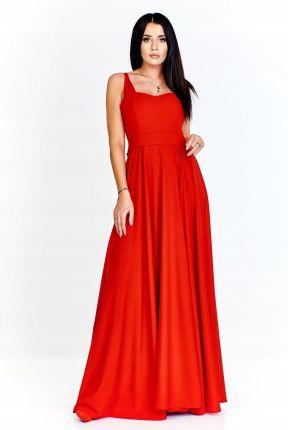 5b6fae5872 Sukienka maxi z dopasowaną górą na szerokich ramią Allegro