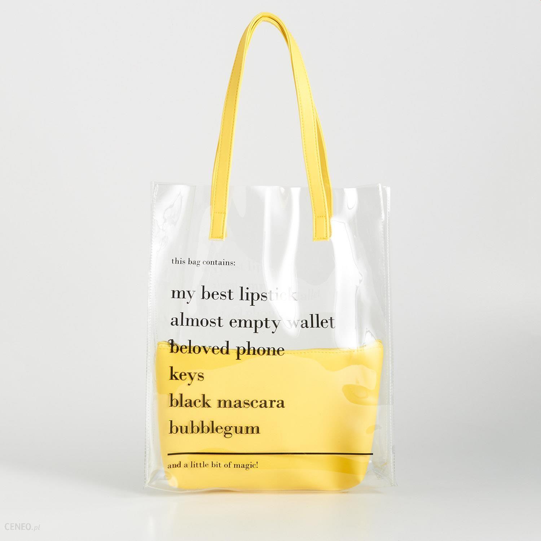 sprzedawane na całym świecie wielka wyprzedaż topowe marki Sinsay - Przezroczysta torba z napisami - Żółty - Ceny i opinie - Ceneo.pl