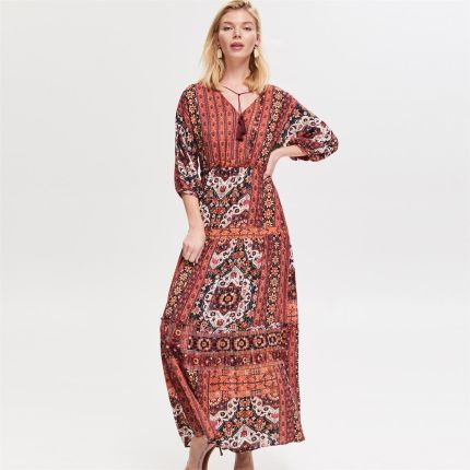 ca02ed97c4 Reserved - Wzorzysta sukienka maxi - Wielobarwn ...