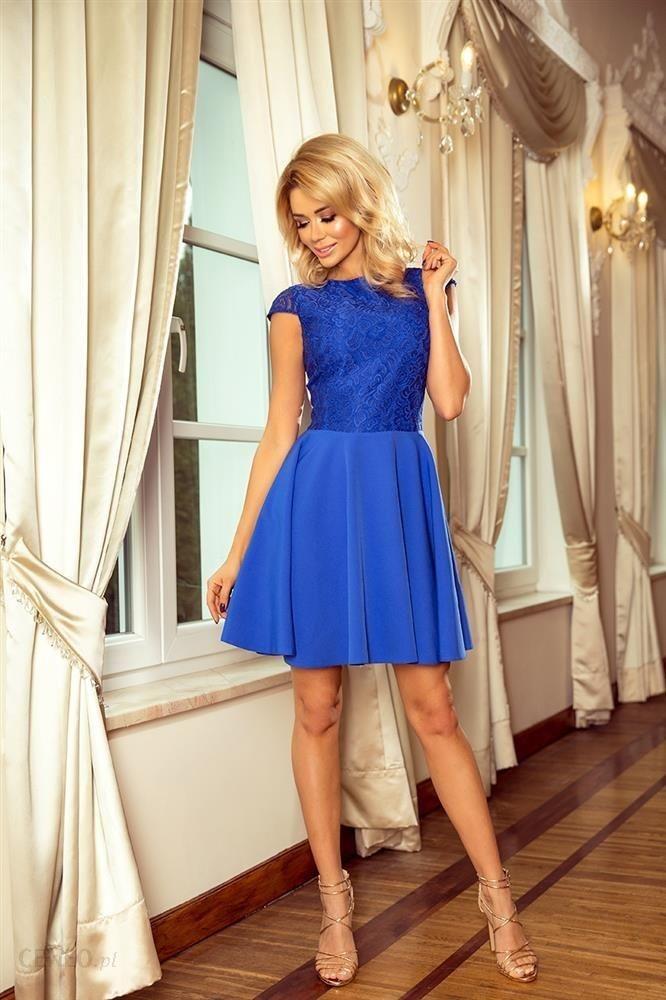 1d5ac500 Koktajlowa sukienka z krótkim rękawem, koronkową górą i rozkloszowanym  dołem - Niebieski - Ceny i opinie - Ceneo.pl