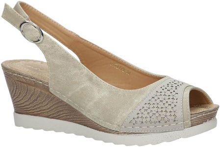 23b60e52 Beżowe sandały z kokardą na koturnie peep toe z odkrytymi palcami i ...