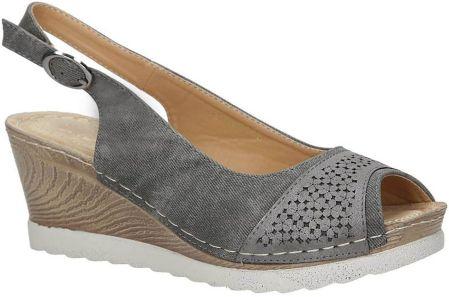 89755c1a Szare sandały peep toe na koturnie z odkrytymi palcami i piętą ze ...