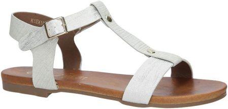 bcd576efd04bb Białe lekkie sandały damskie płaskie z paskiem przez środek Casu ...