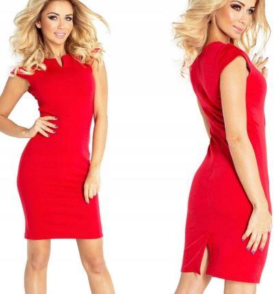 49b6f6d7a7 Elegancka dopasowana sukienka mini Czerwona XL Allegro