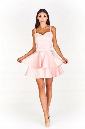 ab1e00dda0 Elegancka sukienka z wyszywaną górą ozdobioną połyskującymi cekinami ...