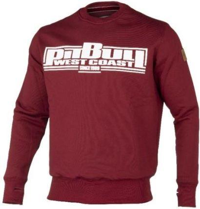 bluza z kapturem pit bull classic logo bordowa l