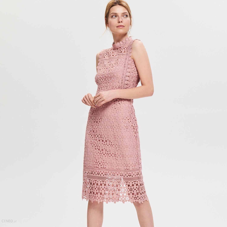 d40456d4ff Reserved - Sukienka z gipiury - Różowy - Ceny i opinie - Ceneo.pl