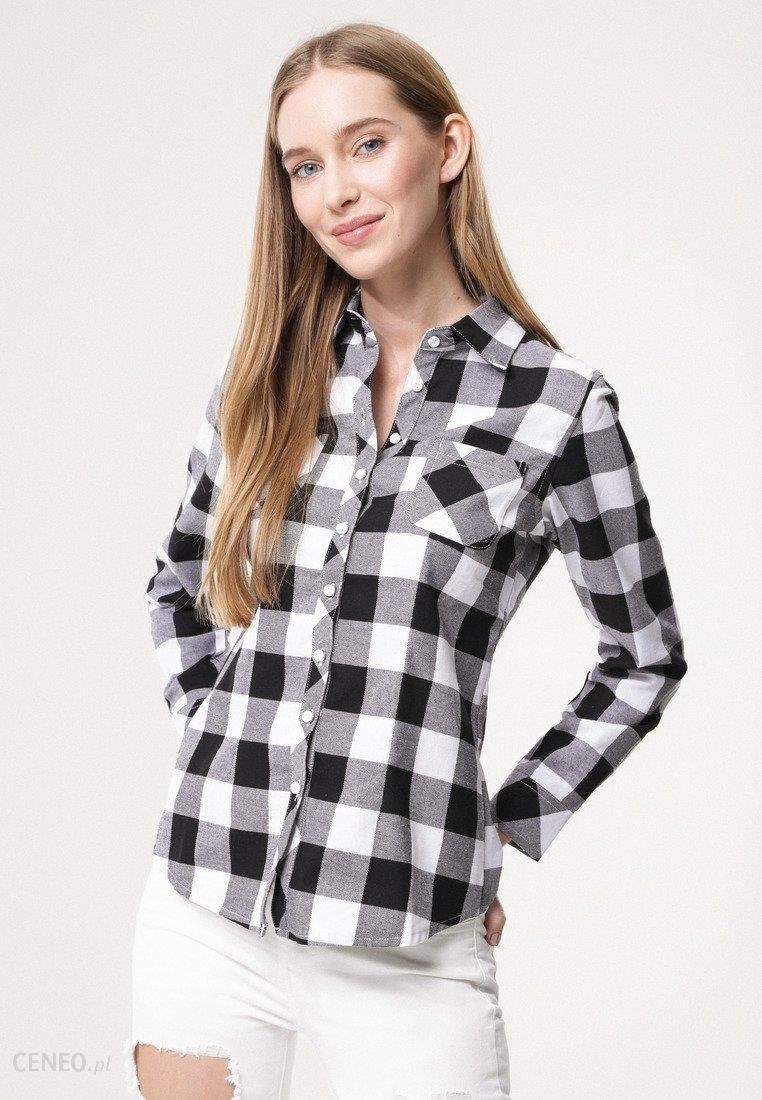 Czarno Biała Koszula Poised Czarne koszule damskie Born2be