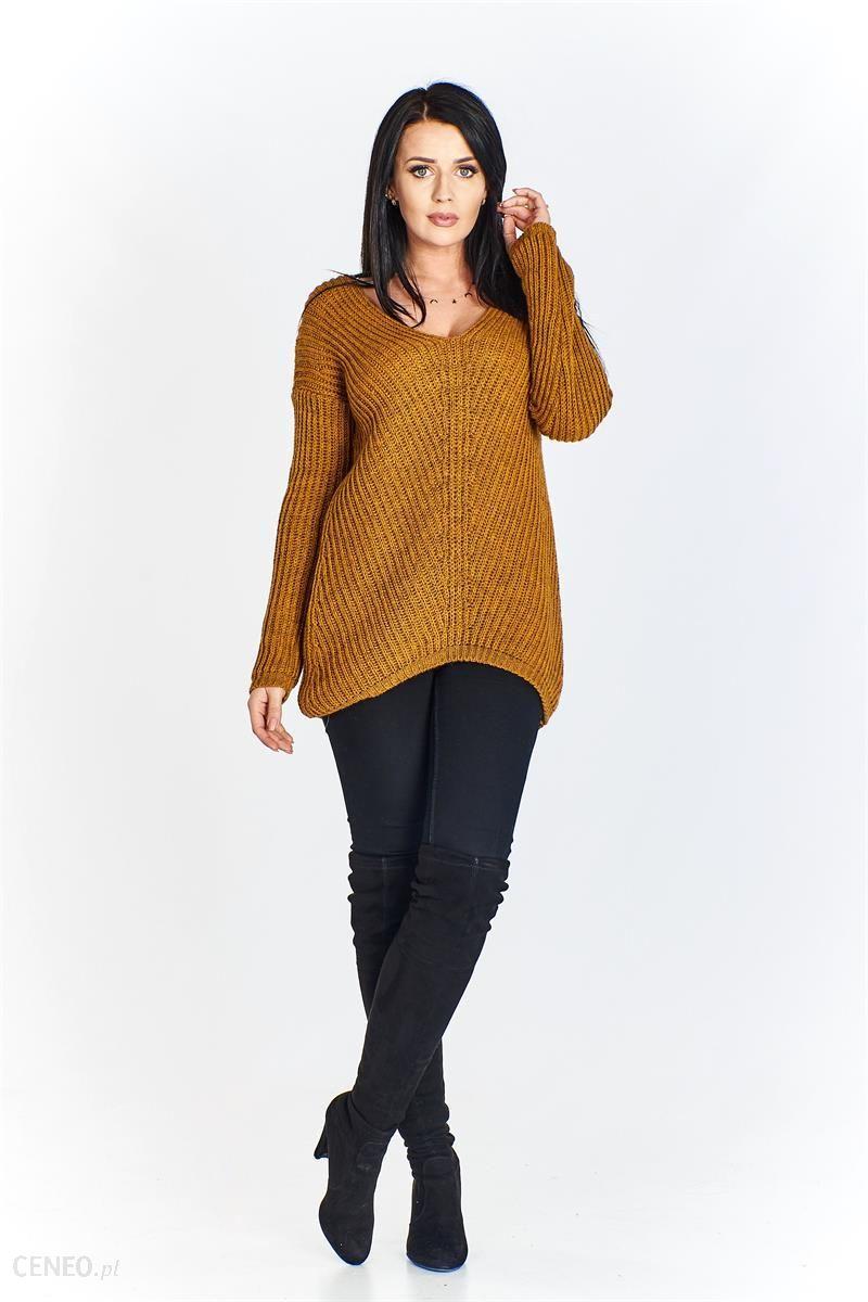 b2fe33a9f61215 Gładki sweter z dekoltem w serek - Ceny i opinie - Ceneo.pl
