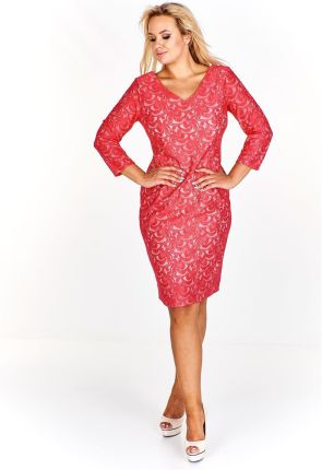 34a82ed22e Czerwona elegancka sukienka na wesele koronkowa XXXL