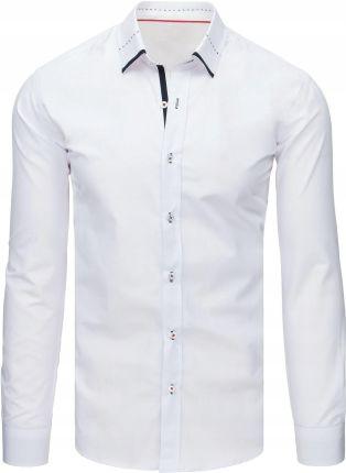 52358d06be3721 Biała koszula męska we wzory z długim rękawem (dx1361) - Ceny i ...