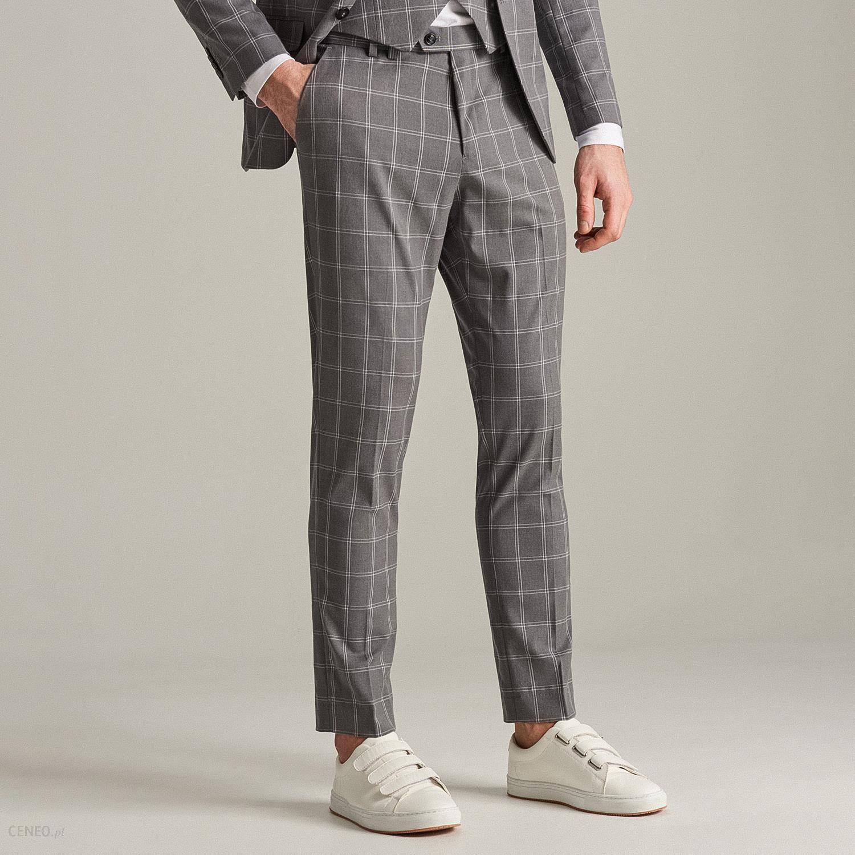 adc3844e1c058 Reserved - Spodnie garniturowe w kratę - Jasny szar - Ceny i opinie ...