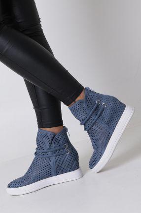 53b0cb7b Niebieskie botki sneakersy wiosenne ażurowe na koturnie Jezzi ASA143-3