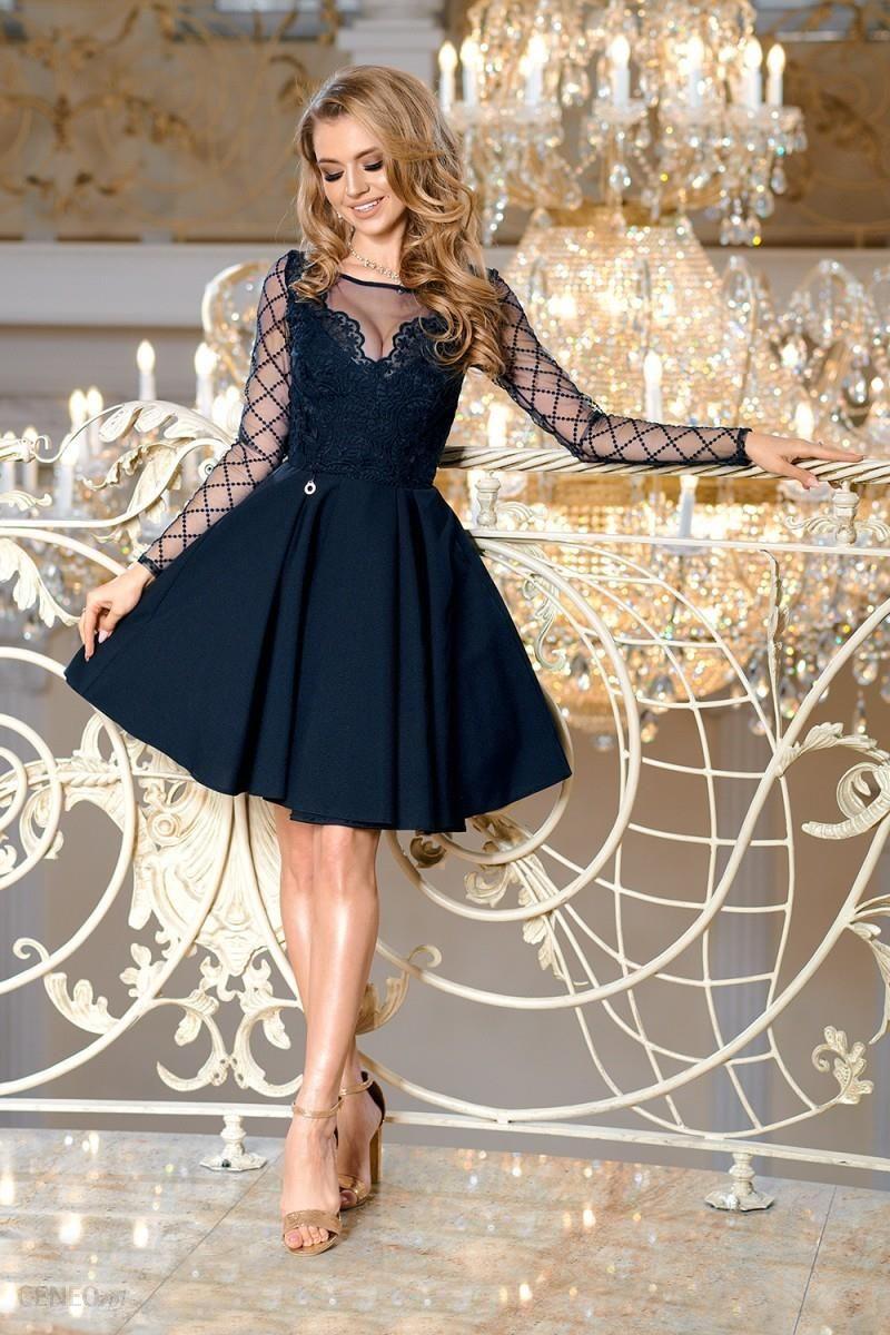 5fd94760c5 Bicotone Rozkloszowana sukienka z ozdobną koronką w kratę Loara - granat -  zdjęcie 1