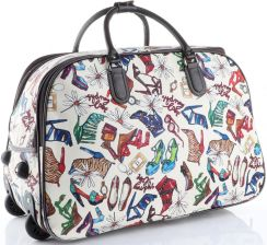 2387ea5307466 Torba Podróżna na kółkach ze stelażem Shoes Bags More Or Mi Multikolor  Biała ...