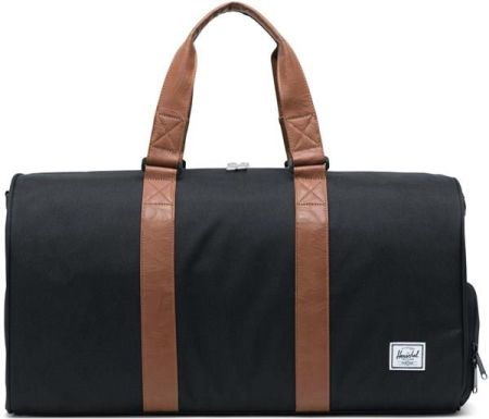 96d2a8c3c2e01 torba podróżna HERSCHEL - Novel Mid-Volume Black Tan Synthetic Leather  (00001)
