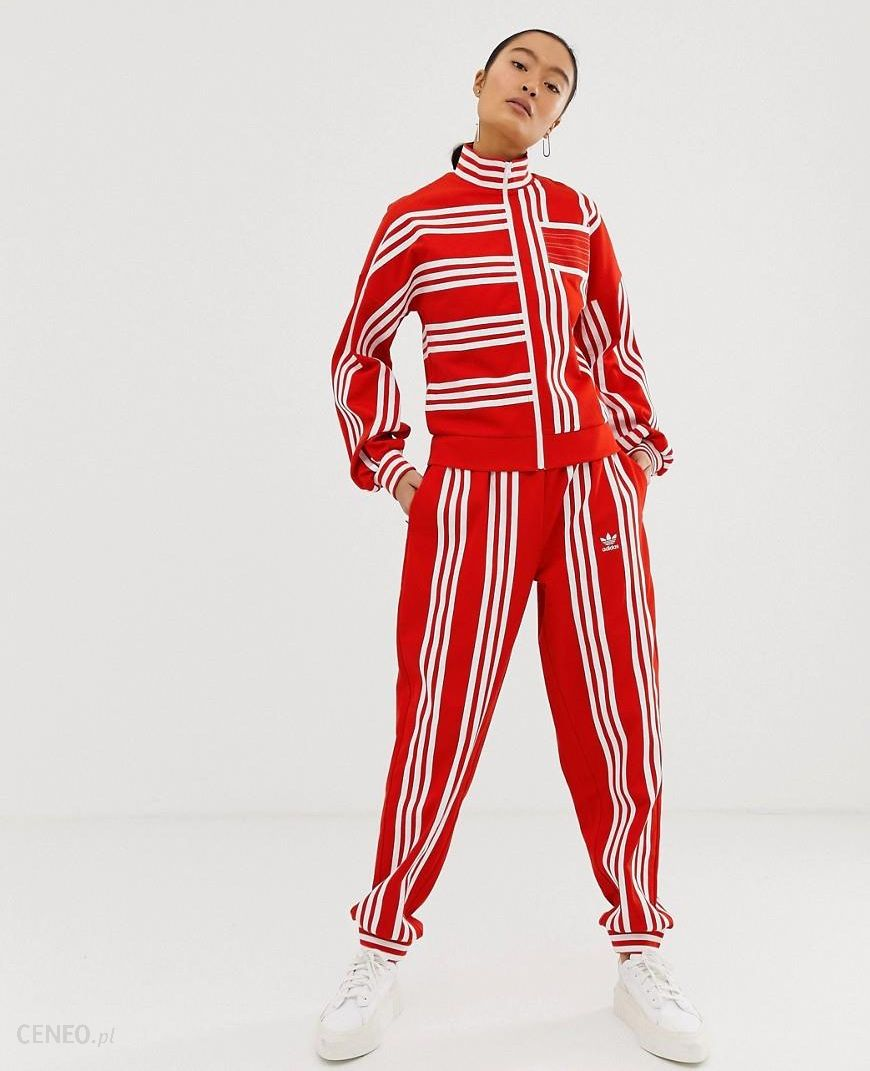 adidas Originals x Ji Won Choi mixed stripe track pant in red Red