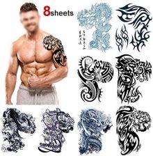 Amazon Howaf Duże Tatuaże Tymczasowe Klatka Piersiowa Ramię Tatuaż Naklejka Wodoodporna Tatuaż Tatuaż Naklejka Sztuka Ciała Dla Kobiet 8 Liści