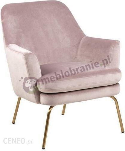 Actona Chisa Różowy Welurowy Fotel Na Miedzianych Nóżkach