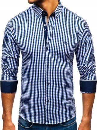26d31d47780533 Koszula męska we wzory z długim rękawem biało-granatowa Bolf 9702 ...