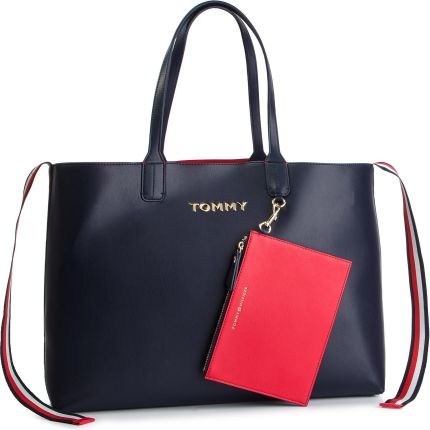 8ce3090535e90 Torebka TOMMY HILFIGER - Iconic Tommy Tote AW0AW06446 901 eobuwie