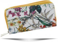b7924fc9227e0 Modny Dwukomorowy Portfel Damski XL we wzór kwiatów marki David Jones  Multikolor Żółty (kolory) ...