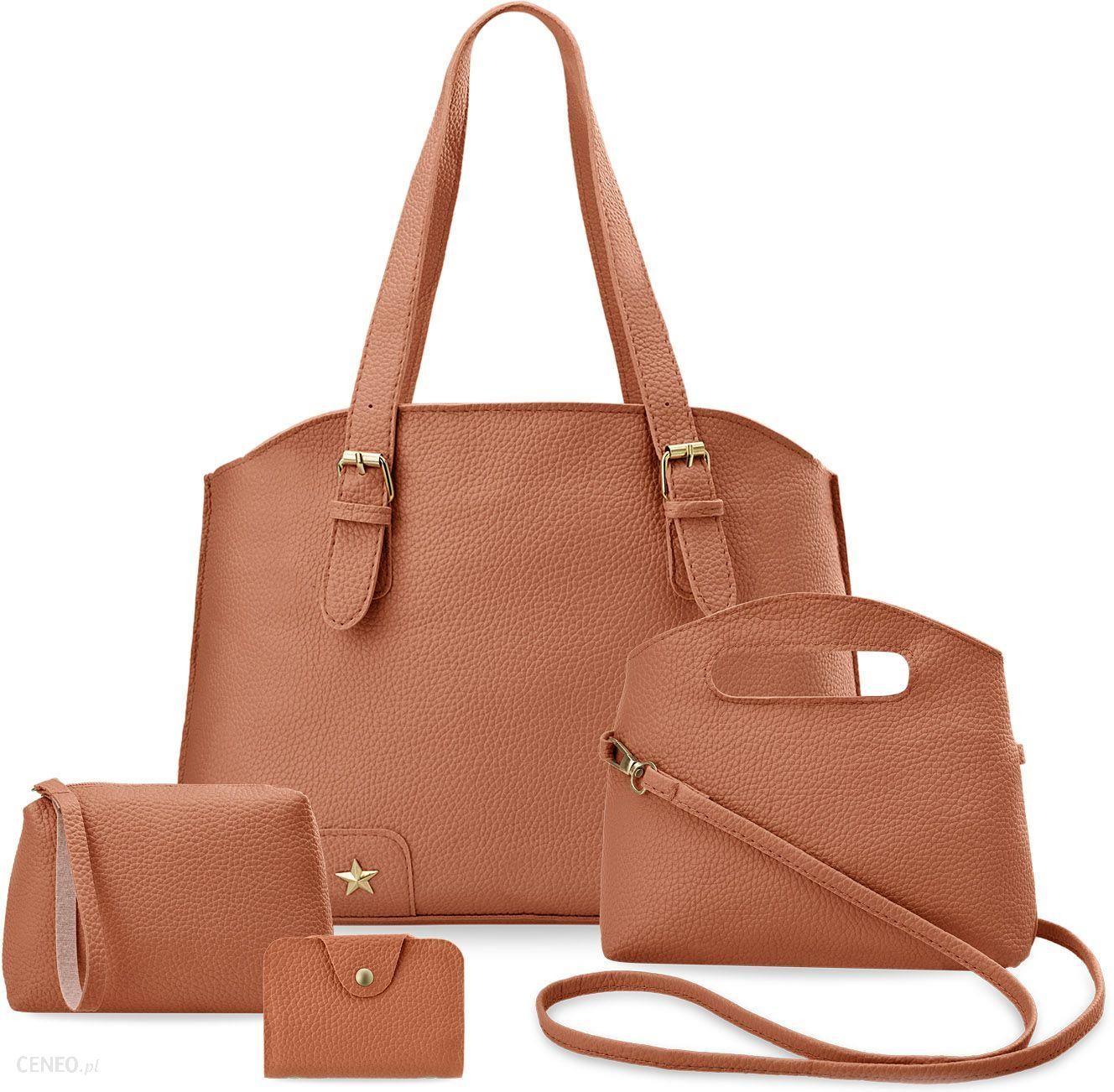abb3bcc9dd364 Komplet torebek damskich 4w1 shopper bag torebka listonoszka saszetka etui  - brązowy - zdjęcie 1