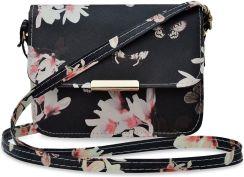 ac46d872d81f6 Urocza torebka damska fantazyjna dziewczęca listonoszka przewieszka w  kwiaty i motyle - czarny