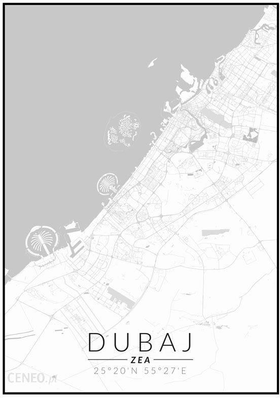 Galeria Plakatu Dubaj Mapa Czarno Biała Plakat 30x40 Cm Gm137530x40