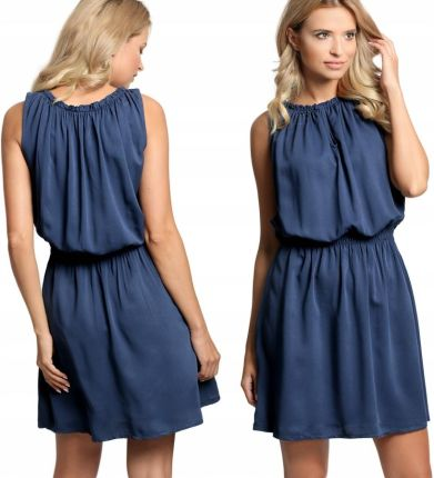 9683320c49 Podobne produkty do Plisowana sukienka koktajlowa pasek F69 Bordowa. Gładka  sukienka na gumce Italy łezka E13 Granat Allegro