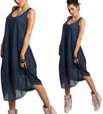 53743c47b5 Luźna sukienka Boho bawełna midi 607 Granat