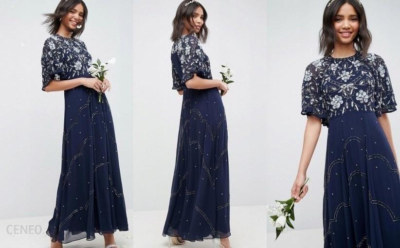 4f2728d8e AX7 Granatowa Sukienka Maxi Zdobienia__s - Ceny i opinie - Ceneo.pl
