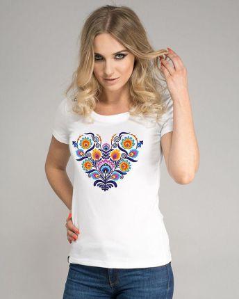 b2c9f2aa37 Koszulka damska SURGE POLONIA Serce Folk Ażur Biała