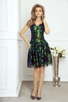 56d02b0de4 Elegancka Wieczorowa Sukienka Koronkowa z Cekinami