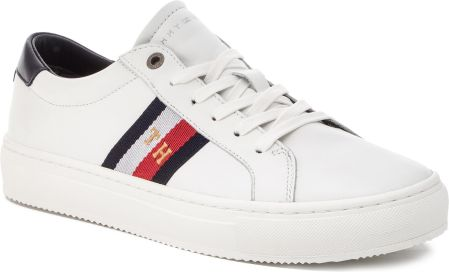 dd3cebf983ab1 Sneakersy TOMMY HILFIGER - Corporate Leather Detail Sneaker FM0FM02244 White  100 eobuwie