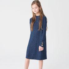 1430c6257c Reserved - Dzianinowa sukienka z długim rękawem - Granatowy ...