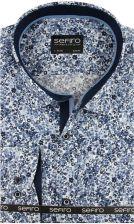 b4af4730e Koszula Męska Sefiro niebieska w kwiatki SLIM FIT na spinki lub guzik A097  - 45/