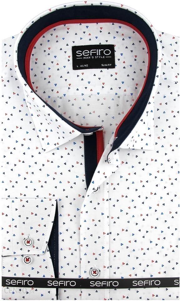 Koszula męska 11503W SLIM FIT biała w granatowe wzory