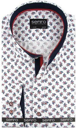 4151032e6326 Koszula Męska Sefiro biała w kwiatki SLIM FIT na spinki lub guzik A114 - 41