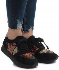 d4543d9a Czarne sneakersy trampki koturny buty T025 37 Allegro